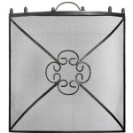 Single Panel Mesh Fire Screen Safety Fireguard Fireside Antique Pewter